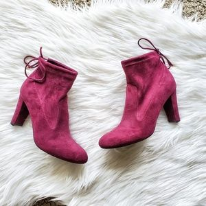 Unisa Dark Red Ressie Sock Ankle Booties